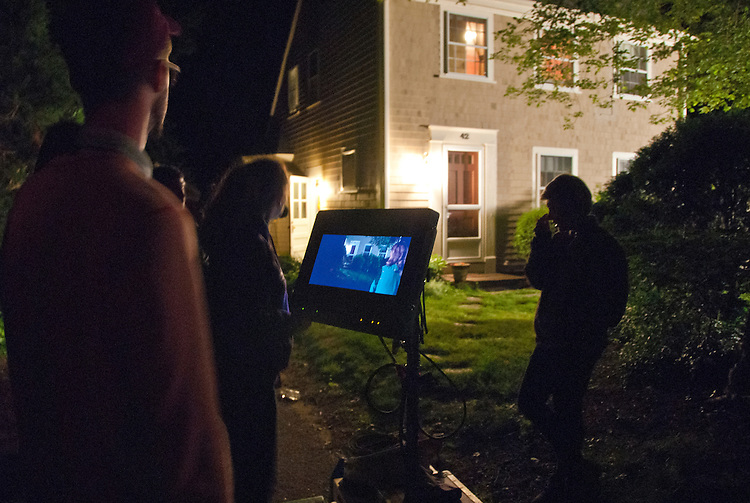 """Director William J. Stribling watching monitor of scene from the film """"Lies I Told My Little Sister"""" starring Lucy Walters, on location at 42 Foster Road, Brewster, Massachusetts, Cape Cod, June 2012, production still"""