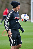 Thursday 20 March 2014<br /> Pictured:Neil Taylor<br /> Re: Swansea City Training at their Fairwood training facility, Swansea, Wales,UK