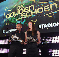 20170208 – LINT ,  BELGIUM : Tessa Wullaert the first winner of the female Golden Shoe and Jose Izquierdo winner of the Golden Shoe 2017 pictured during the  63nd men edition of the Golden Shoe award ceremony and 1st Women's edition, Wednesday 8 February 2017, in Lint AED studio. The Golden Shoe (Gouden Schoen / Soulier d'Or) is an award for the best soccer player of the Belgian Jupiler Pro League championship during the year 2016. The female edition is a first in Belgium.  PHOTO DIRK VUYLSTEKE   Sportpix.be