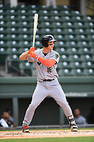 Third baseman Jacob Gonzalez (18) of the Augusta GreenJackets bats in a game against the Greenville Drive on Wednesday, April 25, 2018, at Fluor Field at the West End in Greenville, South Carolina. Augusta won, 9-2. (Tom Priddy/Four Seam Images)
