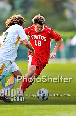 12 October 2011: Boston University Terriers' Backfielder Taylor Washington, a Freshman from Somers, NY, in action against the University of Vermont Catamounts at Centennial Field in Burlington, Vermont. The Catamounts were shut out 1-0 by the visiting Terriers. Mandatory Credit: Ed Wolfstein Photo