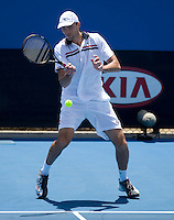 Ivo Karlovic (CRO) against Radek Stepanek (CZE) in the First Round of the Mens Singles.  Karlovic beat Stepanek 2-6 7-6 (5) 6-4 3-6 6-4..International Tennis - Australian Open Tennis - Mon 18 Jan 2010 - Melbourne Park - Melbourne - Australia ..© Frey - AMN Images, 1st Floor, Barry House, 20-22 Worple Road, London, SW19 4DH.Tel - +44 20 8947 0100.mfrey@advantagemedianet.com