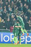 12.03.2018, Weser Stadion, Bremen, GER, 1.FBL, Werder Bremen vs 1.FC Koeln, im Bild<br /> <br /> jubel Milos Veljkovic (Werder Bremen #13) zum 1 zu 0<br /> Milot Rashica (Werder Bremen #11)#<br /> Theodor Gebre Selassie (Werder Bremen #23)<br /> Foto &copy; nordphoto / Kokenge