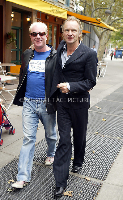 WWW.ACEPIXS.COM ** ** ** ..NEW YORK, OCTOBER 20, 2004: Sting, wife Trudie Styler and a friend exit Da Silvano restaurant in West Village after having lunch there. Please byline: Philip Vaughan -- ACE PICTURES... *** ***  ..Ace Pictures, Inc:  ..Alecsey Boldeskul (646) 267-6913 ..Philip Vaughan (646) 769-0430..e-mail: info@acepixs.com..web: http://www.acepixs.com