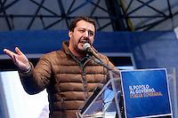 Matteo Salvini<br /> Roma 28-01-2017. Piazza San Silvestro. Manifestazione della Destra 'Il popolo a governo Italia sovrana'.<br /> Rome January 28th 2017. Demonstration of the right wing against the Government.<br /> Foto Samantha Zucchi Insidefoto