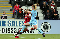 Keira Walsh of Manchester City Women and Jordan Nobbs of Arsenal Women during Arsenal Women vs Manchester City Women, FA Women's Super League FA WSL1 Football at Meadow Park on 12th May 2018