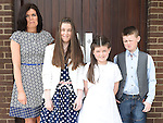 Katie Byrne who received First Holy Communion in the Church of the Nativity Ardee pictured with her family. Photo:Colin Bell/pressphotos.ie