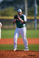 Farmingdale State Rams relief pitcher Joe D'Arco (34) gets ready to deliver a pitch during the second game of a doubleheader against the FDU-Florham Devils on March 15, 2017 at Lake Myrtle Park in Auburndale, Florida.  FDU-Florham defeated Farmingdale 8-4.  (Mike Janes/Four Seam Images)