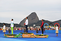 RIO DE JANEIRO, BRAZIL - AUGUST 16:  (L-R) Bronze medalist Vasilij Zbogar of Slovenia, gold medalist Giles Scott of Great Britain and bronze medalist Caleb Paine of the United States celebrate on the podium for the Finn class on Day 11 of the Rio 2016 Olympic Games at the Marina da Gloria on August 16, 2016 in Rio de Janeiro, Brazil.  (Photo by Laurence Griffiths/Getty Images)