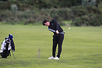 Tom Sloman from England on the 17th fairway during Round 3 Singles of the Men's Home Internationals 2018 at Conwy Golf Club, Conwy, Wales on Friday 14th September 2018.<br /> Picture: Thos Caffrey / Golffile<br /> <br /> All photo usage must carry mandatory copyright credit (&copy; Golffile | Thos Caffrey)