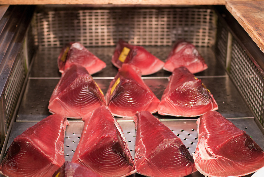 Cuts of fresh tuna at a wholesaler's at Tsukiji Central Wholesale Market, Tokyo.