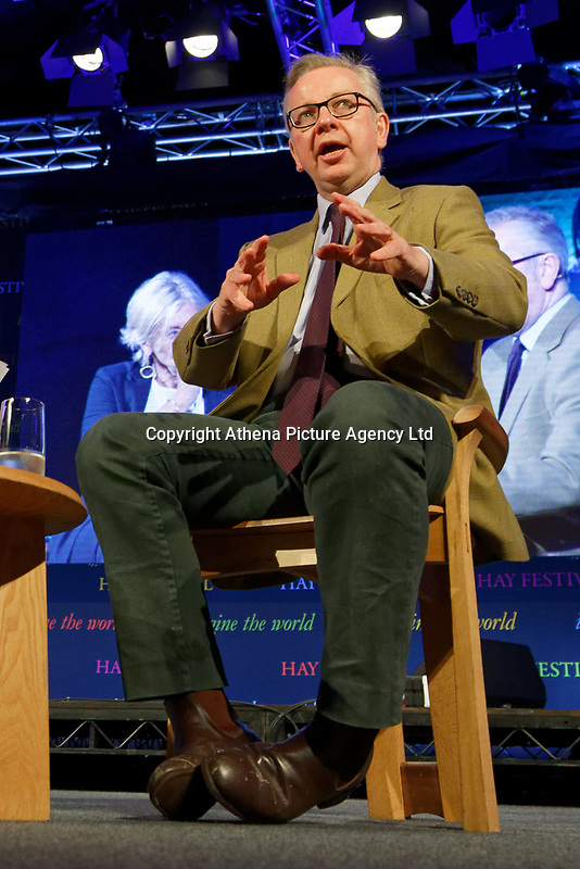 Pictured: Michael Gove, Secretary of State for the Environment, Food and Rural Affairs.<br /> Re: Hay Festival at Hay on Wye, Powys, Wales, UK. Friday 25 May 2018