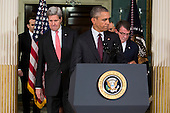 United States Secretary of State John Kerry, left, US President Barack Obama, center, and US Secretary of Defense Ashton Carter arrive to make a statement after meeting with President Obama's National Security Council at the State Department, February 25, 2016 in Washington, DC. The meeting focused on the situation with ISIS and Syria, along with other regional issues. <br /> Credit: Drew Angerer / Pool via CNP
