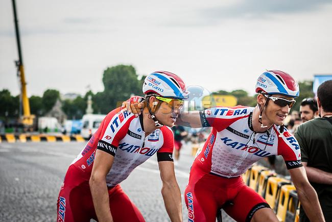 Team Katusha riders after finishing, Tour de France, Stage 21: Évry > Paris Champs-Élysées, UCI WorldTour, 2.UWT, Paris Champs-Élysées, France, 27th July 2014, Photo by Pim Nijland