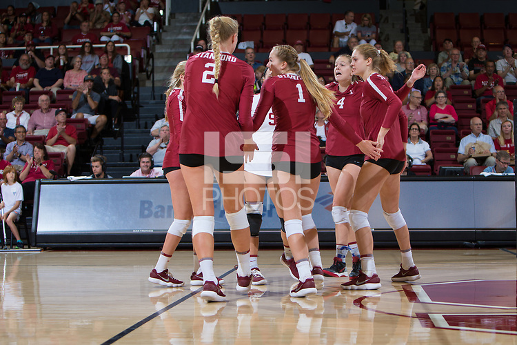 STANFORD, CA - September 9, 2018: Kathryn Plummer, Jenna Gray, Meghan McClure, Holly Campbell, Morgan Hentz at Maples Pavilion. The Stanford Cardinal defeated #1 ranked Minnesota 3-1 in the Big Ten / PAC-12 Challenge.