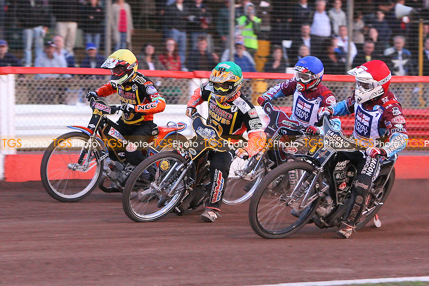 Heat 13: Lee Richardson (red), Peter Karlsson (yellow), Fredrik Lindgren (green) and Joonas Kylmakorpi - Sky Sports Elite League Speedway at Arena Essex Raceway, Purfleet, Essex - 24/06/09- MANDATORY CREDIT: Gavin Ellis/TGSPHOTO - Self billing applies where appropriate - 0845 094 6026 - contact@tgsphoto.co.uk - NO UNPAID USE.