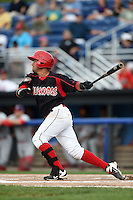 Batavia Muckdogs second baseman Rony Cabrera (40) at bat during a game against the Auburn Doubledays on August 31, 2014 at Dwyer Stadium in Batavia, New York.  Batavia defeated Auburn 7-6.  (Mike Janes/Four Seam Images)