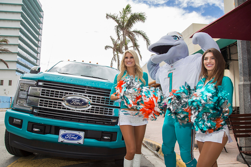 Dolphins Cheerleaders and TD Rewarding a Lucky Fan with their Ford Toughest Tailgate On Demand on November 4, 2016, in Miami, FL (Jesus Aranguren/AP Images for Ford)