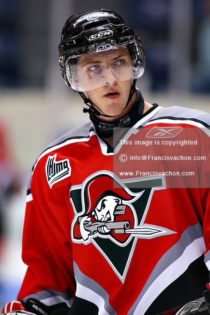 QMJHL (LHJMQ) hockey player profile photo on Drummondville Voltigeurs Jeff Marcoux October 24, 2008 at the Colisee Pepsi in Quebec city.