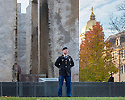 Nov. 10, 2014; ROTC cadets and midshipmen stand at attention for vigil at the Clarke Memorial Fountain in honor of Veterans Day. (Photo by Matt Cashore/University of Notre Dame)