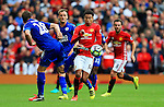 Jesse Lingard of Manchester United takes on Christian Fuchs of Leicester City during the Premier League match at Old Trafford Stadium, Manchester. Picture date: September 24th, 2016. Pic Sportimage