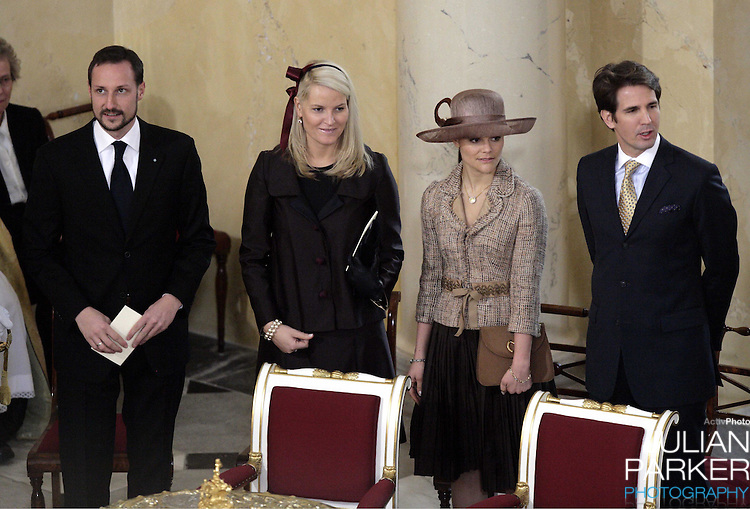Crown Prince Haakon & Crown Princess Mette-Marit of Norway, Crown Princess Victoria of Sweden & Crown Prince Pavlos of Greece attend the Christening of Crown Prince Frederik & Crown Princess Mary of Denmark's son Christian Valdemar Henri John at the Palace Chapel, Christiansborg Palace, followed by a reception in the Great Hall..