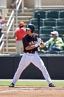Kannapolis Intimidators shortstop Eddy Alvarez (1) at bat against the Lexington Legends at CMC-NorthEast Stadium on August 13, 2014 in Kannapolis, North Carolina.  (Brian Westerholt/Four Seam Images)