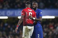 Chelsea's Antonio Rudiger has a quiet word with Paul Pogba of Manchester United during Chelsea vs Manchester United, Emirates FA Cup Football at Stamford Bridge on 18th February 2019
