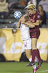 06 December 2013: Florida State's Michaela Hahn (8) and Virginia Tech's Ellie Zoepfl (7). The Florida State Seminoles defeated the Virginia Tech University Hokies 3-2 at WakeMed Stadium in Cary, North Carolina in a 2013 NCAA Division I Women's College Cup semifinal match.