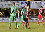 2015-11-01 / voetbal / seizoen 2015-2016 / Berg en Dal - VC Herentals / Stijn Van Elven (m) (Berg en Dal) heeft gescoord en wordt gefeliciteerd door Jens Van Der Sanden (nr 13) (Berg en Dal)