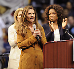 Caroline Kennedy, Maria Shriver and Oprah Winfrey takes the stage during a rally for Democratic presidential candidate US Senator Barack  Obama at UCLA's Pauley Pavilion in Los Angeles, California, February 3, 2008. Fitzroy Barrett