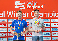 Picture by Allan McKenzie/SWpix.com - 17/12/2017 - Swimming - Swim England Nationals - Swim England National Championships - Ponds Forge International Sports Centre, Sheffield, England - Matthew Richards and Thomas Fannon with gold in the mens 50m freestyle.