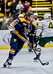 26 January 2019: Merrimack College Warrior Forward Logan Drevitch, a Freshman from Middleborough, MA, in first period action against the University of Vermont Catamounts at Gutterson Fieldhouse in Burlington, Vermont. The Warriors fell to the Catamounts 4-3 in overtime after tying up the game in the dyeing seconds of the third period of their America East conference game. Mandatory Credit: Ed Wolfstein Photo *** RAW (NEF) Image File Available ***