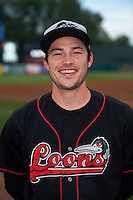 Great Lakes Loons pitcher Tommy Bergjans (8) poses for a photo before a game against the Kane County Cougars on August 13, 2015 at Fifth Third Bank Ballpark in Geneva, Illinois.  Great Lakes defeated Kane County 7-3.  (Mike Janes/Four Seam Images)