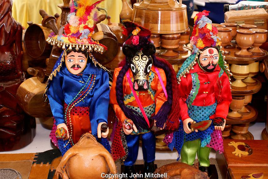 El Gueguense or Macho Raton masked figurines from Diriamba, Nicaragua