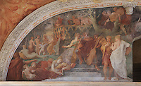 Detail of the Concert fresco, on the West wall of the Ballroom or Galerie Henri II, Chateau de Fontainebleau, France. The Palace of Fontainebleau is one of the largest French royal palaces and was begun in the early 16th century for Francois I. It was listed as a UNESCO World Heritage Site in 1981. Picture by Manuel Cohen