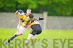 Ronan Shanahan Austin Stacks in action against Cormac Mulvhill Feale Rangers in the County Championship in Listowel on Sunday