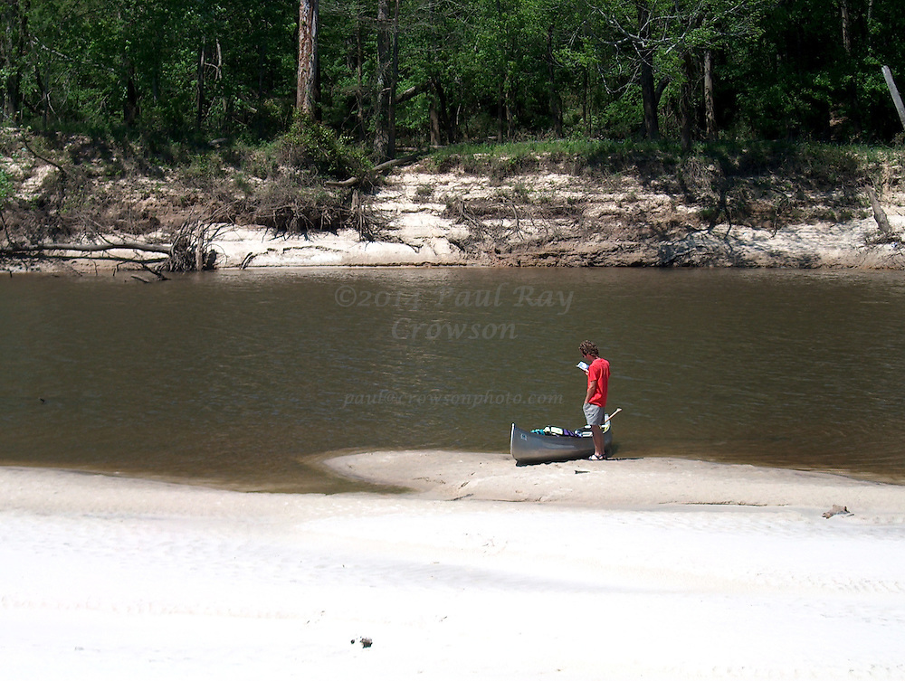 Canoe on Sandbar on Pearl River