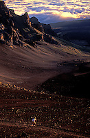 Man out for a run in Haleakala National Park on Maui