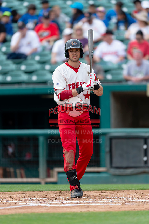 Fresno Grizzlies right fielder Alec Keller (9) batting during a game against the Reno Aces at Chukchansi Park on April 8, 2019 in Fresno, California. Fresno defeated Reno 7-6. (Zachary Lucy/Four Seam Images)