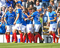 Jamal Lowe of Portsmouth is mobbed after scoring the first goal during Portsmouth vs Luton Town, Sky Bet EFL League 1 Football at Fratton Park on 4th August 2018