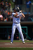 Inland Empire 66ers center fielder Brandon Marsh (20) at bat during a California League game against the Lancaster JetHawks at San Manuel Stadium on May 20, 2018 in San Bernardino, California. Inland Empire defeated Lancaster 12-2. (Zachary Lucy/Four Seam Images)