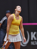 April 18, 2015, Netherlands, Den Bosch, Maaspoort, Fedcup Netherlands-Australia,    Jarmila Gajdosova (AUS) is frustrated<br /> Photo: Tennisimages/Henk Koster