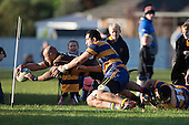 Aaron Smith dives over to score a late try for Bombay. Counties Manukau Premier Club Rugby game between Patumahoe & Bombay, played at Patumahoe on Saturday June 18th 2016. Patumahoe won the game 27 - 15 after leading 9 - 3 at halftime. Photo by Richard Spranger.