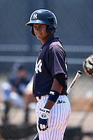 GCL Yankees 1 outfielder Leonardo Molina (18) at bat during the first game of a doubleheader against the GCL Braves on July 1, 2014 at the Yankees Minor League Complex in Tampa, Florida.  GCL Yankees 1 defeated the GCL Braves 7-1.  (Mike Janes/Four Seam Images)