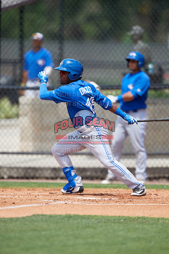Toronto Blue Jays Rodrigo Orozco (15) during a Minor League Spring Training game against the Philadelphia Phillies on March 30, 2018 at Carpenter Complex in Clearwater, Florida.  (Mike Janes/Four Seam Images)