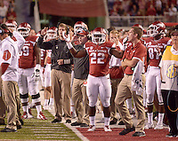 NWA Democrat-Gazette/BEN GOFF @NWABENGOFF<br /> The Arkansas bench reacts after an Arkansas touchdown pass to tight end Hunter Henry was called back on a penalty in the fourth quarter on Saturday Sept. 19, 2015 during the game in Razorback Stadium in Fayetteville.