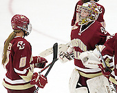 Allison Szlosek (BC - 8), Corinne Boyles (BC - 29) - The Boston College Eagles defeated the Harvard University Crimson 4-2 in the 2012 Beanpot consolation game on Tuesday, February 7, 2012, at Walter Brown Arena in Boston, Massachusetts.