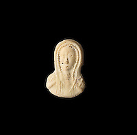 A cameo in white glass with a blue glass back, with a carved effigy of a Christian woman, 10th - 11th century, from the 1988 excavations led by Francois Blary, from the North section of the upper courtyard in the kitchen area at the medieval castle of Chateau-Thierry, Picardy, France. The first fortifications on this spur over the river Marne date from the 4th century and the first castle was built in the 9th century Merovingian period by the counts of Vermandois. Thibaud II enlarged the castle in the 12th century and built the Tour Thibaud, and Thibaud IV expanded it significantly in the 13th century to include 17 defensive towers in the walls and an East and South gate. The castle was largely destroyed in the French Revolution after having been a royal palace since 1285. In 1814 it was used as a citadel for Napoleonic troops. Picture by Manuel Cohen
