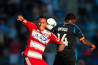 Blas Perez (7) of FC Dallas goes up for a header with Amobi Okugo (14) of the Philadelphia Union. The Philadelphia Union and FC Dallas played to a 2-2 tie during a Major League Soccer (MLS) match at PPL Park in Chester, PA, on June 29, 2013.